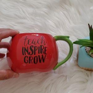Teach Inspire Grow Red Green Apple Coffee Mug Cup